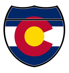 Colorado flag in an interstate sign vector
