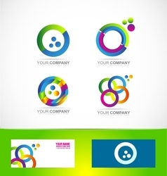 Colors circle logo icon set vector image