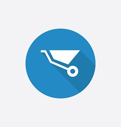 construction wheelbarrow Flat Blue Simple Icon vector image