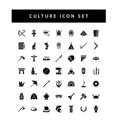 culture icon set with black color glyph style vector image