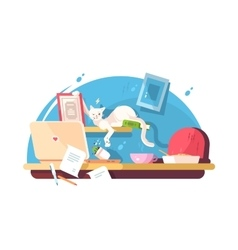 Cute cat and mess in workplace vector image