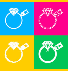 diamond sign with tag four styles of icon on four vector image