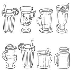 Different types of tea vector