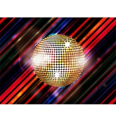 Disco ball on abstract striped background vector image
