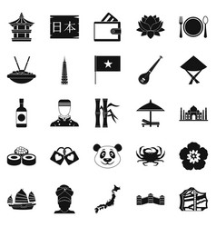 Diversity asia icons set simple style vector