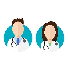 Doctor icon flat style male and female vector