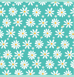 Doodle white daisy flowers pattern on pastel green vector