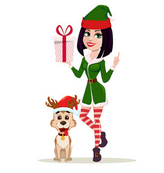 elf woman holding gift box and cute dog sitting vector image
