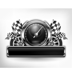 Emblem speedometer races checkered flag vector