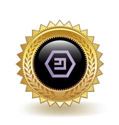 Emercoin cryptocurrency coin gold badge vector