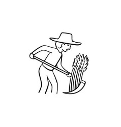 Farmer working on the field hand drawn sketch icon vector