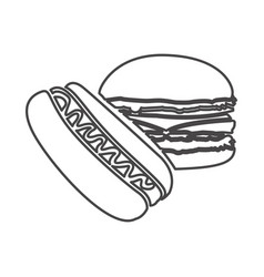 Figure hot dog and hamburger icon vector