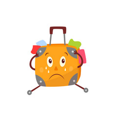 Flat travel bag suitcase character crying vector