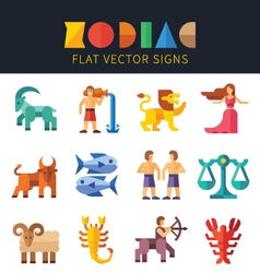 Flat zodiac signs astrology vector image