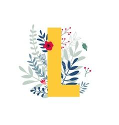 floral alphabet letter l vector image