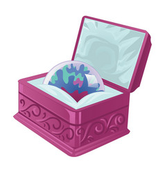 Gift case with crystal ball solated on white vector