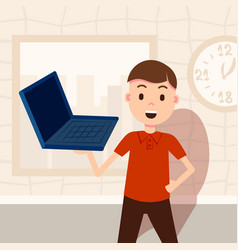Glad man holding laptop male character template vector