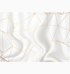 Gold low poly design on silver marble texture vector