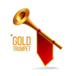 Gold trumpet fanfare horn musical herald vector
