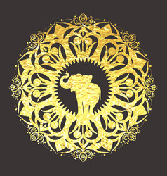 golden foil mandala ornament vector image