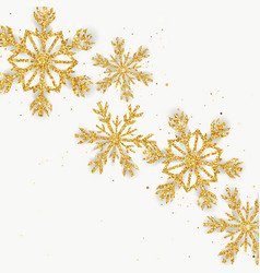 Golden glitter snowflakes greeting card vector