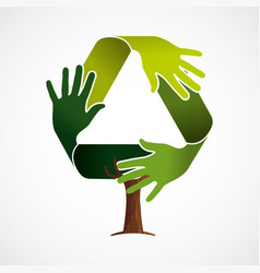 Green tree concept for recycling teamwork vector