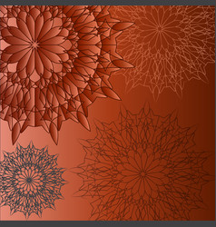 Group circular patterns on a brown background vector