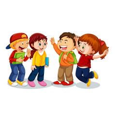 Group young children cartoon character on vector