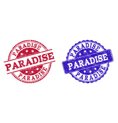 Grunge scratched paradise stamp seals vector