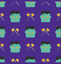 halloween seamless pattern with ghost and axe on vector image