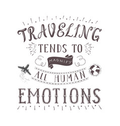 hand lettering quote travel and air vector image