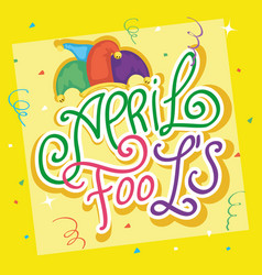 Happy april fools day card with lettering and hat vector