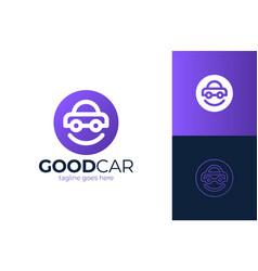 happy car logo design smile car logo design vector image