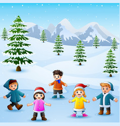 Happy kid playing in snowing hill vector