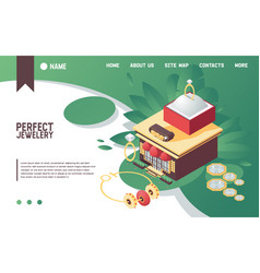 horizontal banner with isometric jewelry vector image