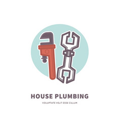 House plumbing advertisement banner with tools for vector