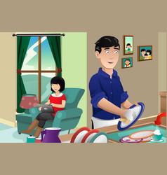 Husband washing dishes vector