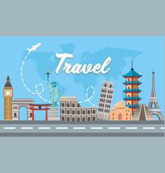 International travel destination adventure tour vector