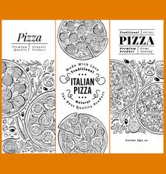 italian pizza banner set hand drawn vector image