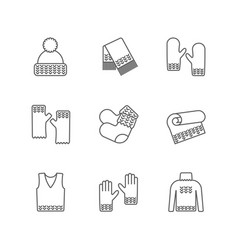 knit winter clothes icon set knitting clothes vector image
