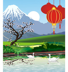landscapes - japanese pagoda at mount fuji vector image