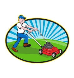 Lawn Mower Man Gardener Cartoon vector image