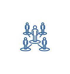 Leadership networkmultilevel line icon concept vector