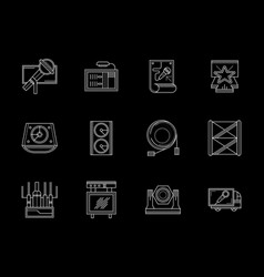 Lights and sound equipment white line icons vector