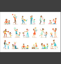 Loving fathers playing and enjoying good quality vector