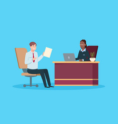 man on job interview isolated work meeting hr vector image