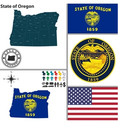 Map of Oregon with seal vector image