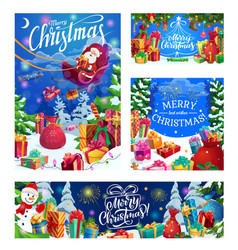 Merry christmas greeting santa and gifts in snow vector