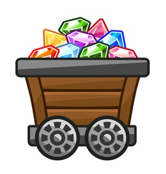Mine cart with diamonds vector