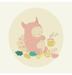 monster and tea vector image